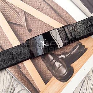 Мужской кожаный ремень Louis Vuitton  реплика Черный