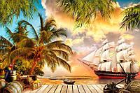 Фотообои 3D флизелиновые 368x254 см детские для мальчиков Пиратский остров с кораблем 11421V8