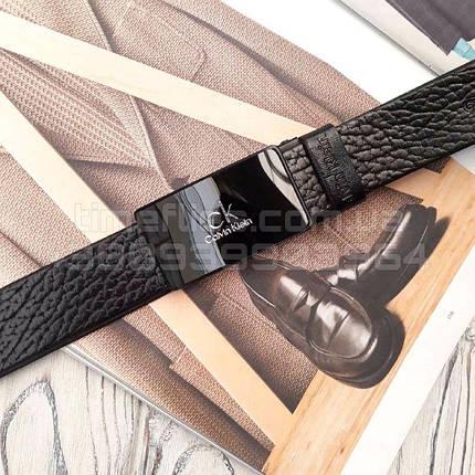 Чоловічий шкіряний ремінь Calvin Klein репліка Чорний, фото 2