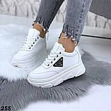 Женские кроссовки на макси подошве черные и белые, фото 3