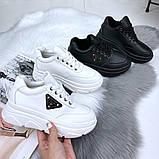 Женские кроссовки на макси подошве черные и белые, фото 4