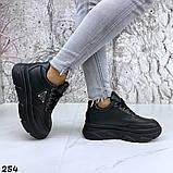 Женские кроссовки на макси подошве черные и белые, фото 5