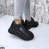 Женские кроссовки на макси подошве черные и белые, фото 6