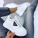 Женские кроссовки на макси подошве черные и белые, фото 2
