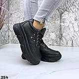Женские кроссовки на макси подошве черные и белые, фото 7