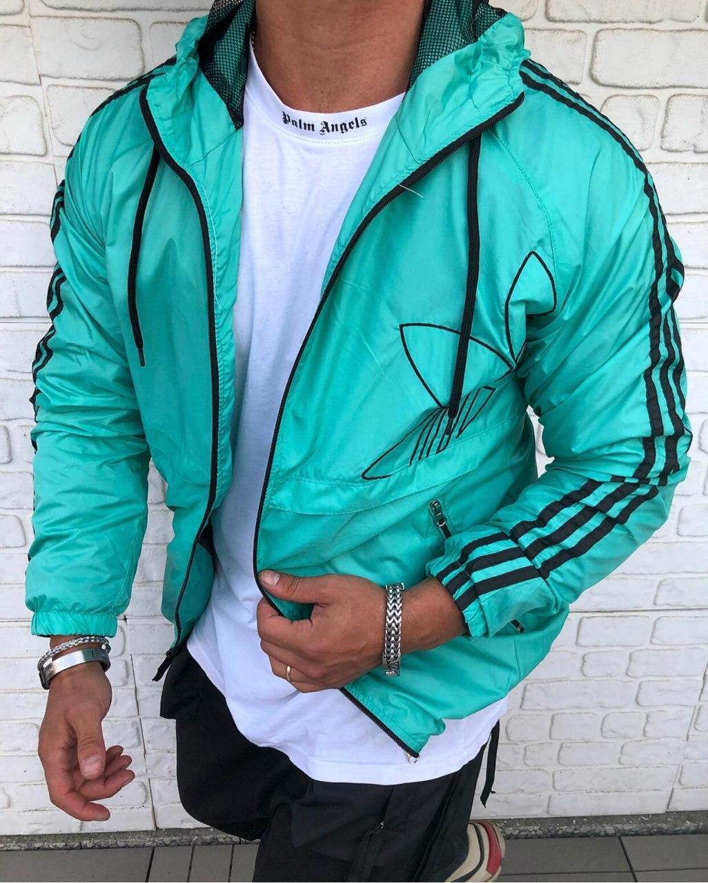 Ветровка - Мужская куртка ветровка ADIDAS (бирюзовая)