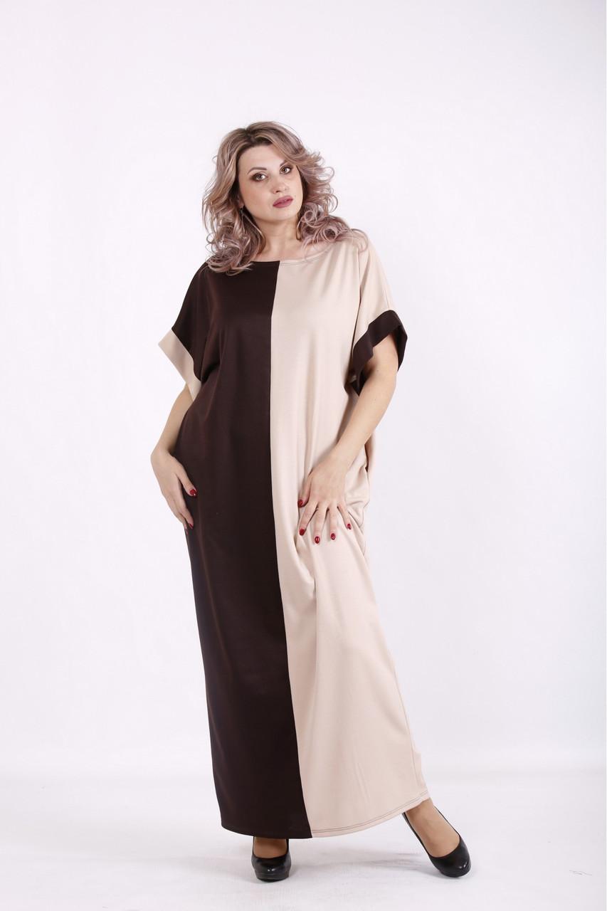 Двокольорове бежево-коричнева сукня вільного крою батал 42-74. 01569-2