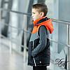 """Куртка-жилет для мальчика демисезонная """"Стей"""" светоотражающие вставки черный с оранжевым 122, фото 5"""