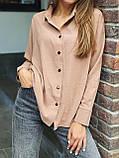 Рубашка женская с длинным рукавом Цвета: чёрный, пудра, мокко, белый. Размеры 42-44, 46-48, 50-52, фото 3