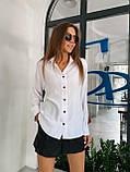 Рубашка женская с длинным рукавом Цвета: чёрный, пудра, мокко, белый. Размеры 42-44, 46-48, 50-52, фото 2