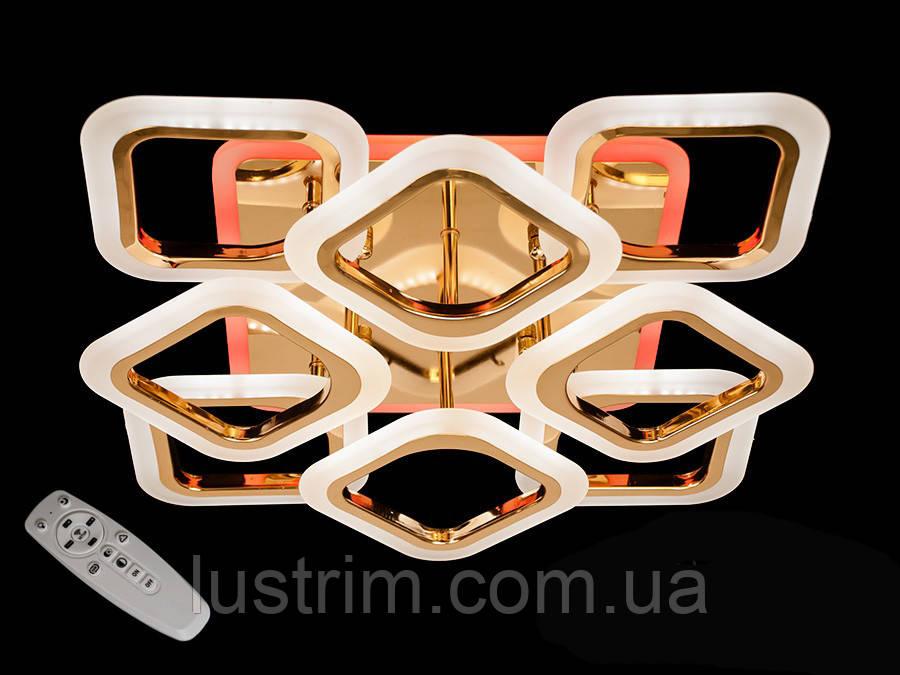 Светодиодная люстра с диммером и LED подсветкой, золото,110W