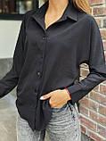 Рубашка женская с длинным рукавом Цвета: чёрный, пудра, мокко, белый. Размеры 42-44, 46-48, 50-52, фото 4