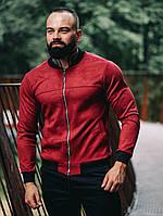 Замшевый бомбер Асос LUX Куртка мужская ветровка повседневная Красный (Размер S)