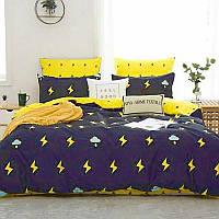 Качественный постельный комплект синий с молниями