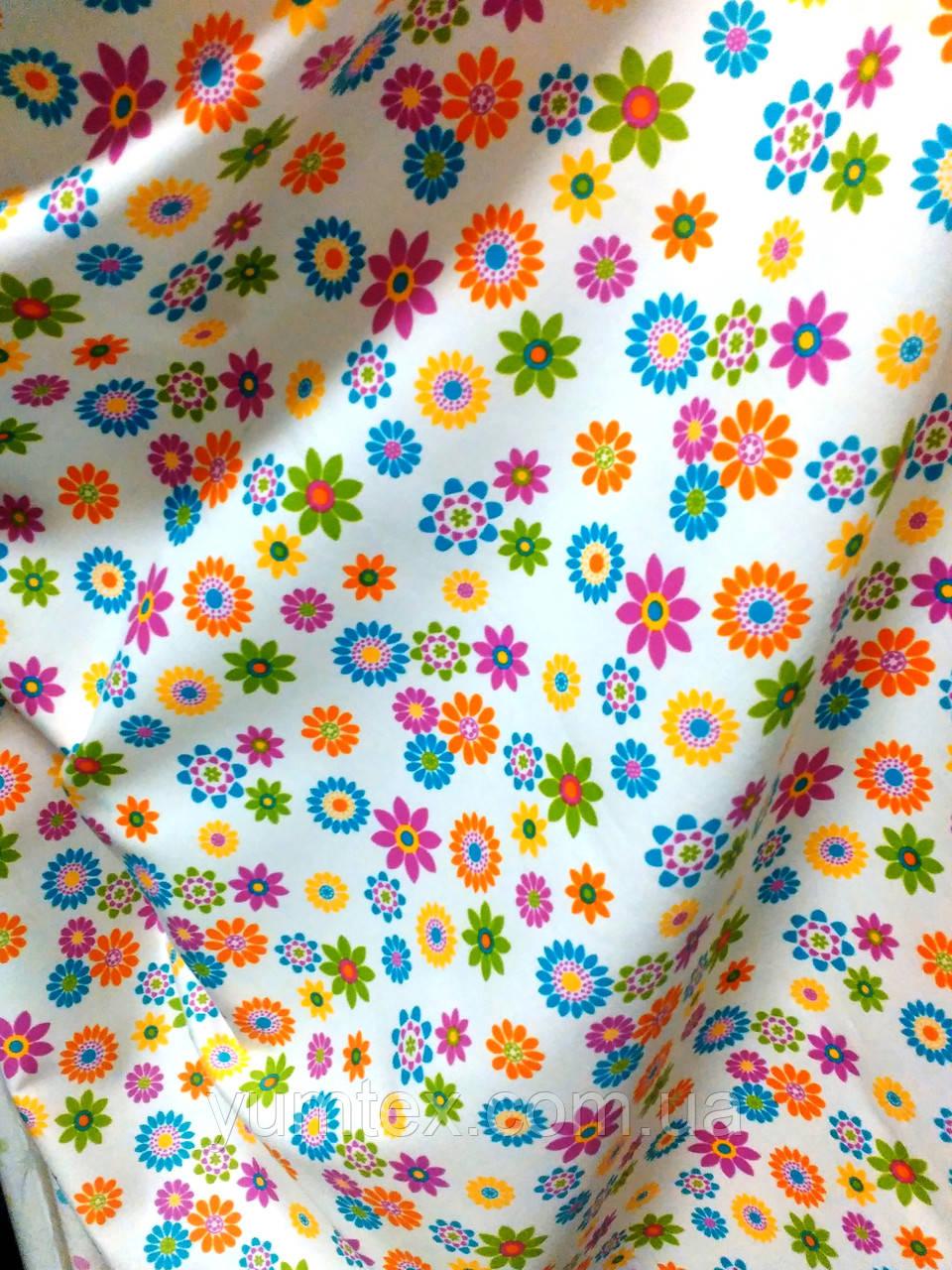 Ткань хлопковая мелкие цветочки, фон молочный