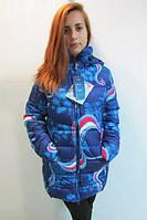 Куртка  женская  Azimut 1178 цветная абстракция (синяя,белая,красная) (42) код 712а