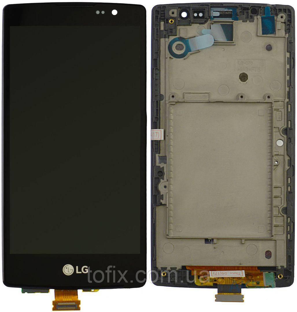 Дисплей для LG Spirit Y70 H420, H422, H440, H442, модуль в зборі (екран і сенсор), з рамкою, чорний, оригінал