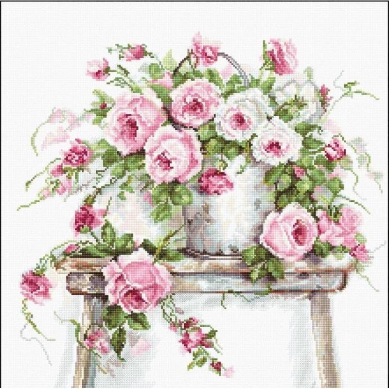 Набор для вышивания нитками Luca-S Цветы Розы на табурете