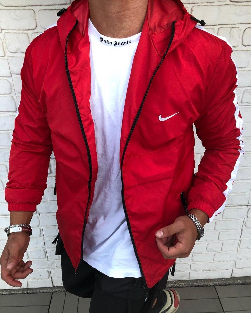 Вітрівка Чоловіча куртка вітровка NIKE (червона з смужкою на рукавах)