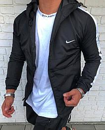 Вітрівка Чоловіча куртка вітровка NIKE (чорна з смужкою на рукавах)
