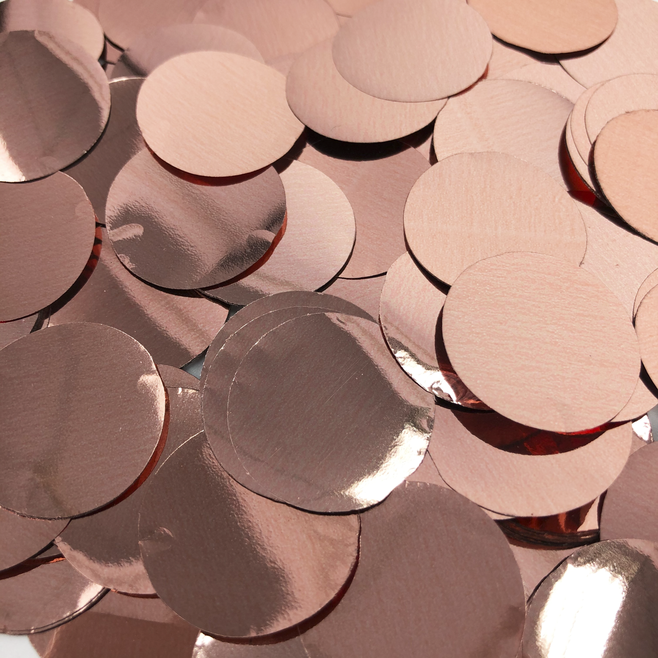 Конфетти кружочки розовое золото  23 мм, 100г