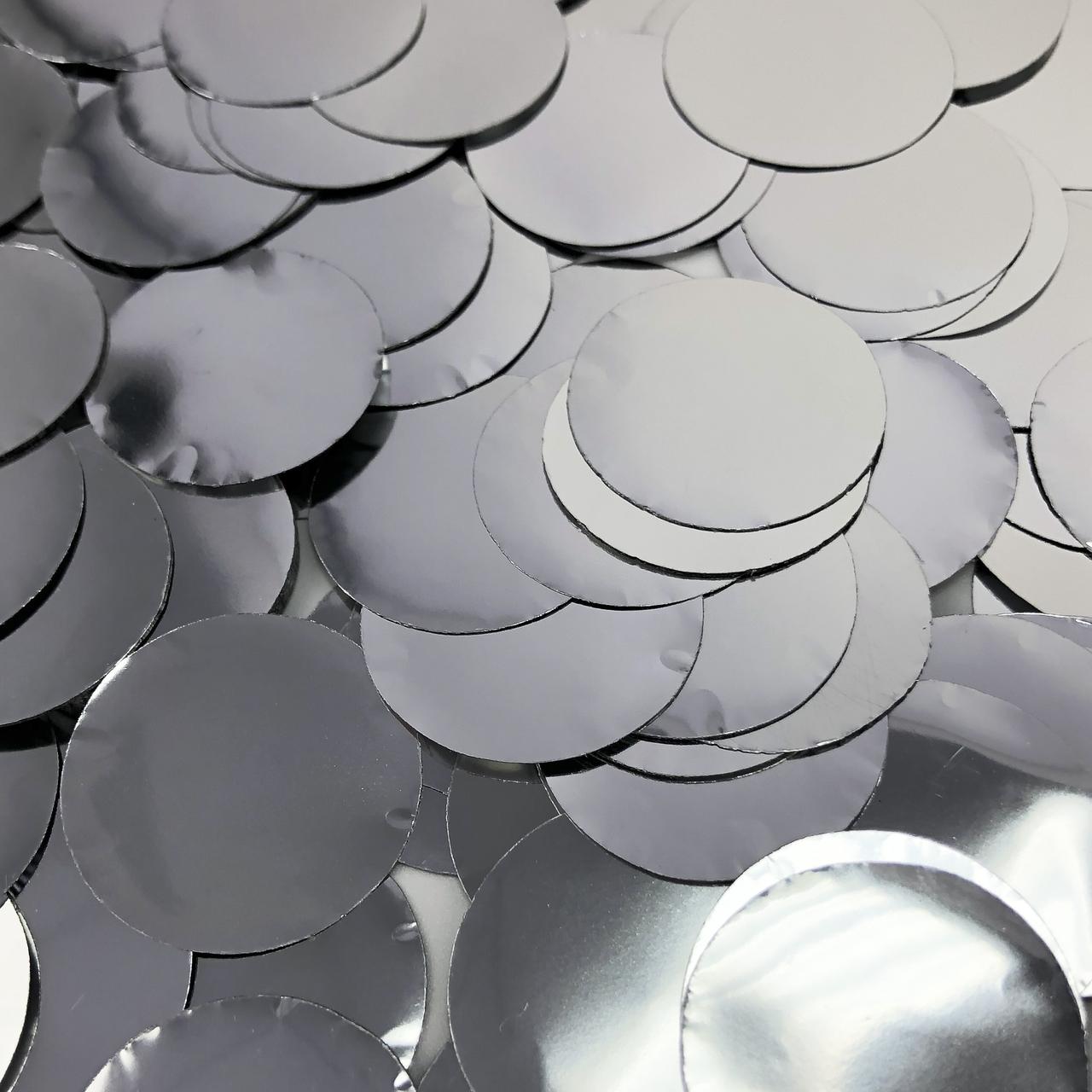 Конфетті кружечки срібло 23 мм, 100г