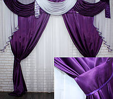 Комплект ламбрекен с портьерами 3м. Модель №135 Фиолетовый с белым