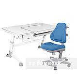 Комплект растущая парта FunDesk Amare Grey с выдвижным  ящиком + ортопедическое кресло FunDesk Bravo, фото 4