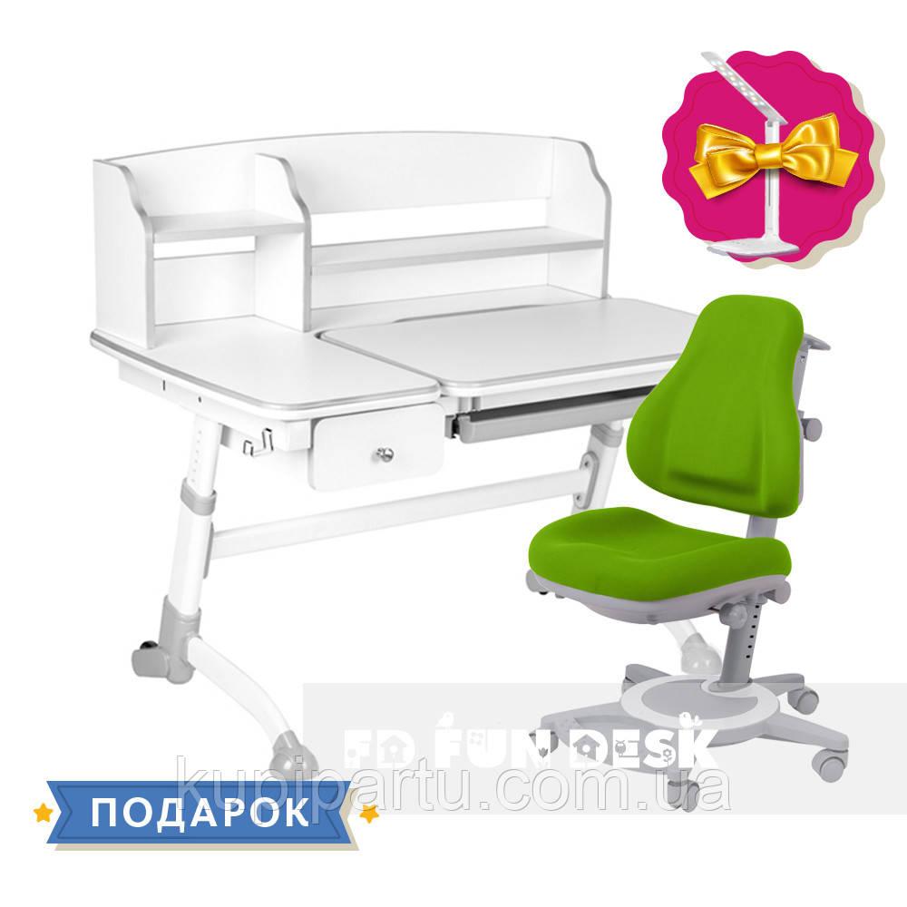 Комплект парта для будинку FunDesk Amare Grey II з висувним ящиком+ ортопедичне крісло FunDesk Bravo Green