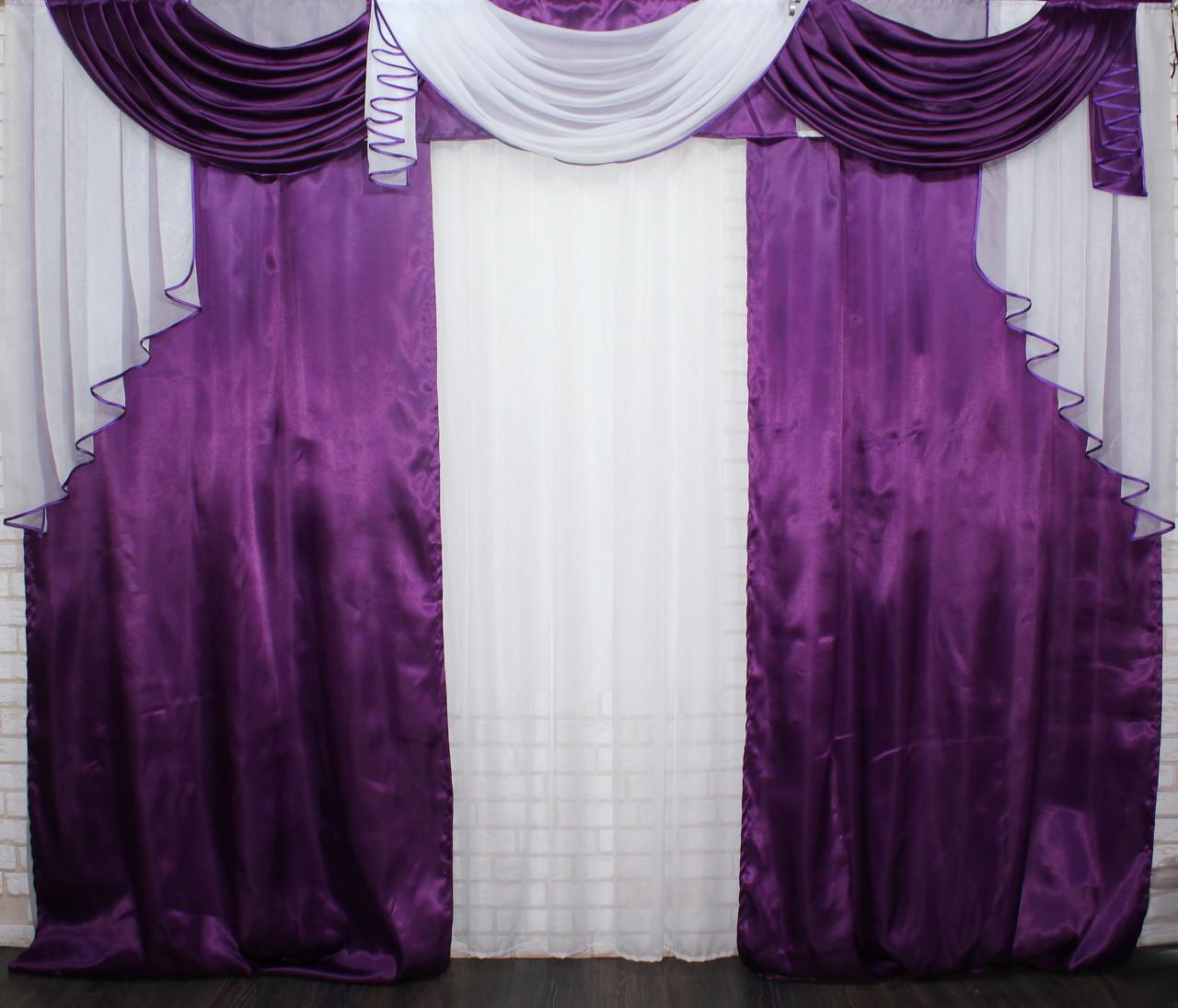 Комплект ламбрекен с портьерами 3м. Модель №135 фиолетовый с белым (3*2,8) 70-030