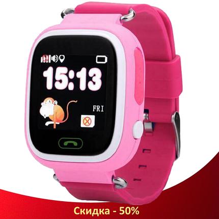 Детские Умные часы с GPS Smart baby watch Q90 розовые - Детские смарт часы-телефон с трекером и кнопкой SOS, фото 2