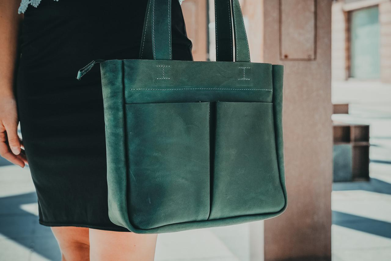 Шоппер з двома кишенями Вінтажна шкіра колір Зелений