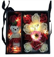Подарочный набор с розами из мыла с Мишкой + подсветка Подарок девушке Подарки для женщин