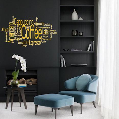 Интерьерная виниловая наклейка Виды кофе (стикеры для кухни, наклейки надписи, буквы на стены, самоклеющаяся)