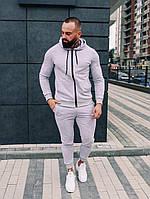 Мужской спортивный Костюм демисезонный(Весна-Осень) с капюшоном серого цвета