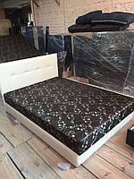 """Ліжко """"Жанна"""" з матрацом та підйомним механізмом (білий кожзам)"""