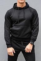 Черная худи унисекс с капюшоном весна-осень