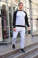 Мужской спортивный костюм WOW свитшот без капюшона и штаны (весна-осень) Серый/Черный