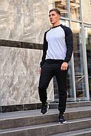 Мужской спортивный костюм WOW свитшот без капюшона и штаны (весна-осень) Серый-черный/Черный