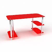 """Скляний червоний письмовий стіл """"Альтаїр"""", фото 1"""