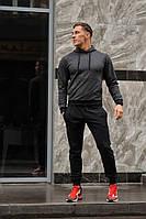 Мужской спортивный костюм WOW штаны и худи с капюшоном (весна-осень) Темно-серый/Черный