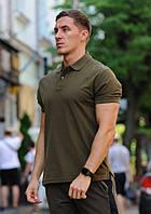Футболка мужская поло WOW Стильная летняя тениска с манжетами на рукавах Оливковая (хаки)