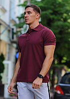 Футболка мужская поло WOW Стильная летняя тениска с манжетами на рукавах Бордовая