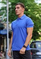 Футболка мужская поло WOW Стильная летняя тениска с манжетами на рукавах Синяя