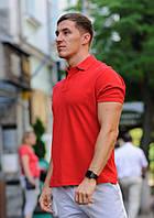 Футболка мужская поло WOW Стильная летняя тениска с манжетами на рукавах Красная