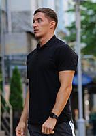 Футболка мужская поло WOW Стильная летняя тениска с манжетами на рукавах Черная