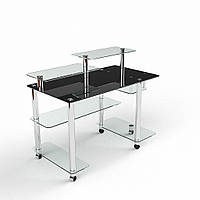 """Стеклянный черный компьютерный стол """"Альфа"""""""