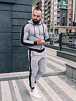 Мужской спортивный Костюм демисезонный(Весна-Осень) с капюшоном Серый с черными лампасами