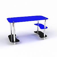 """Стеклянный синий письменный стол """"Антей"""", фото 1"""