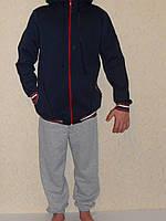 Толстовка детская синяя с капюшоном на шнурке